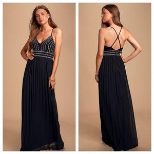 Lulu's Glamorous Gala Black Embroidered Maxi Dress